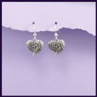 Angel Wing Heart Sterling Silver Earrings